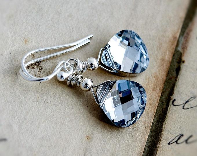 Metallic Silver Crystal Dangle Earrings, Swarovski Crystal Drop Earrings in Sterling Silver