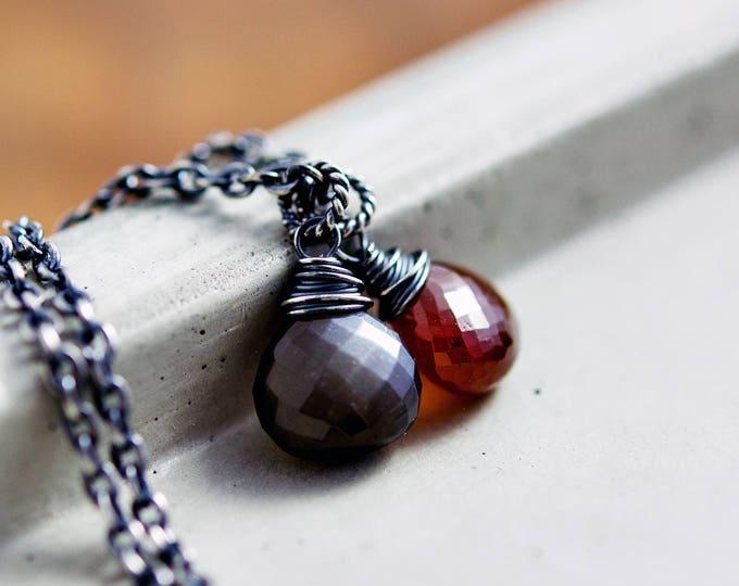 Red Garnet Necklace, Black Moonstone Pendant on Sterling Silver