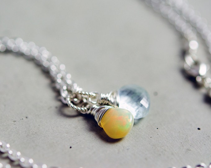 Aquamarine and Opal Necklace, Pale Blue Aquamarine and Ethiopian Opal on Sterling Silver