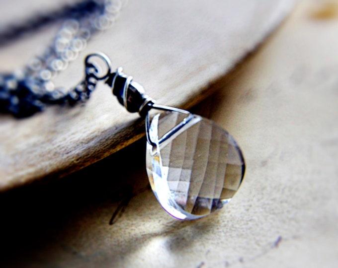 Crystal Necklace, Crystal Pendant, Swarovski Crystal, Sterling Silver, Minimal Necklace, Modern Necklace, polestar, Black and white