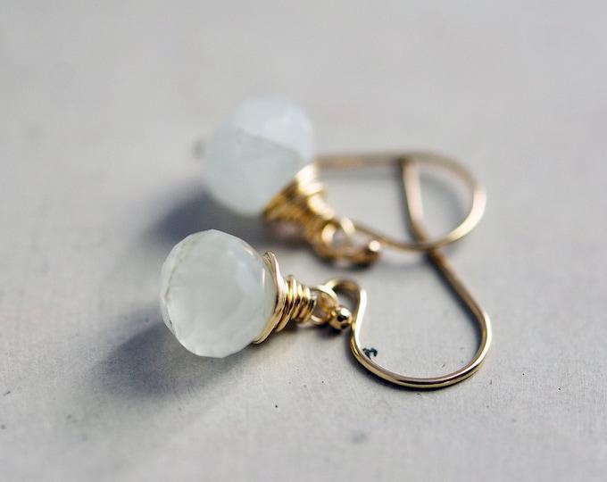 Drop Earrings, Gemstone Earrings, Aquamarine Earrings, March Birthstone, Birthstone Earrings, Gold Earrings
