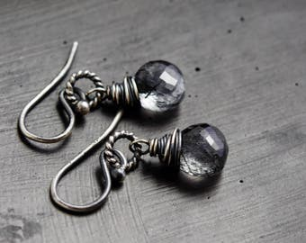 Tourmalinated Quartz Earrings, Crystal Drop Earrings, Modern Drop Earrings