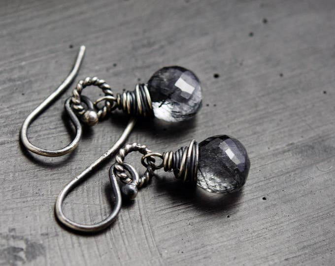 Tourmalinated Quartz Earrings, Crystal Drop Earrings, Modern Drop Earrings