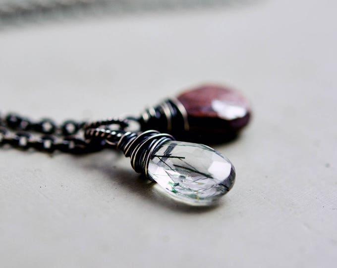 Crystal Necklace, Rutilated Quartz, Tigers Eye Necklace, Artemis Necklace, Forest Green, Woodland Necklace, Gemstone Necklace