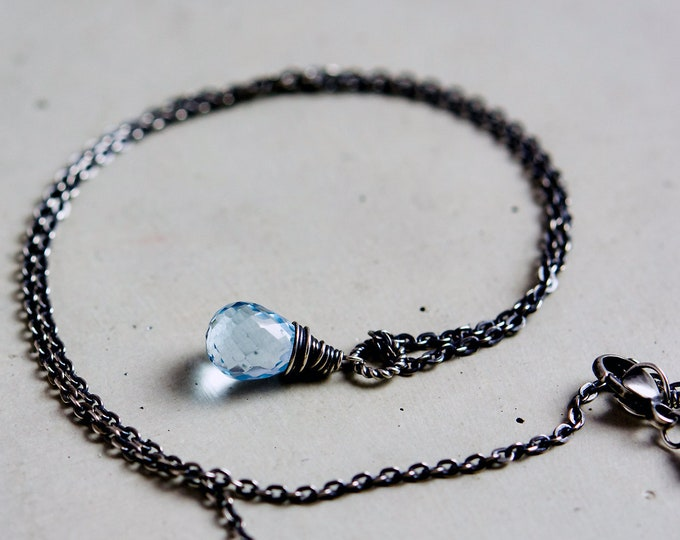 Sky Blue Topaz Necklace, Light Blue Crystal Pendant Wire Wrapped on Sterling Silver