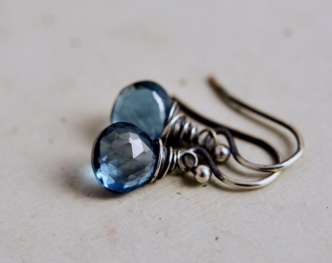 Topaz Earrings, Drop Earrings, Blue Topaz, London Blue Topaz, Wire Wrapped, Sterling Silver, November Birthstone, PoleStar, London Blue