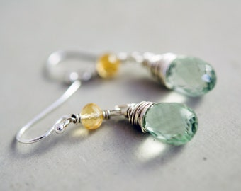 Yellow Citrine and Mint Green Amethyst Gemstone Dangle Earrings on Sterling Silver, Mother's Day Gift