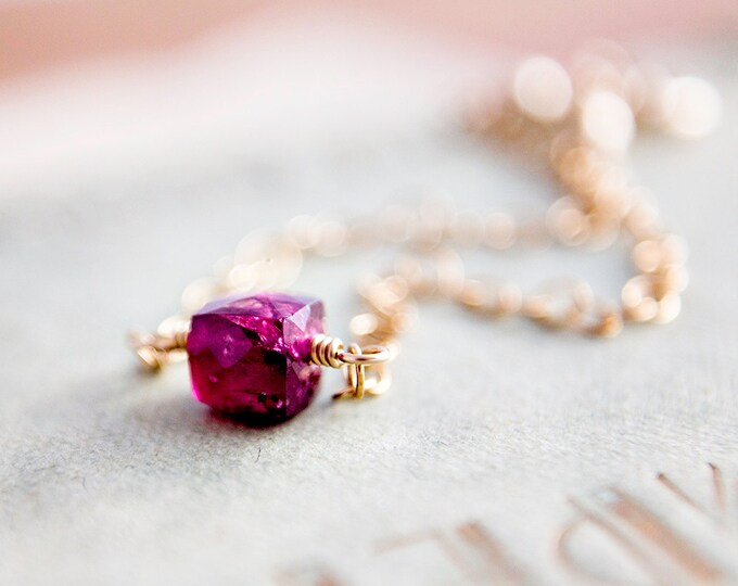Tourmaline Bracelet, Gold Bracelet, Pink Gemstone, Tourmaline Jewelry, Fuchsia, Dark Pink, Gold Bracelet, Cube Bracelet, Geometric Bracelet