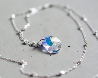 Petite Swarovski Crystal Prism Necklace, Minimalist Sparkle Pendant on Satellite Chain of Sterling Silver