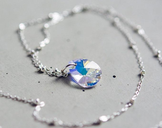 Petite Swarovski Crystal Prism Necklace, Minimalist Sparkle Pendant on Satellite Chain of Sterling Silver