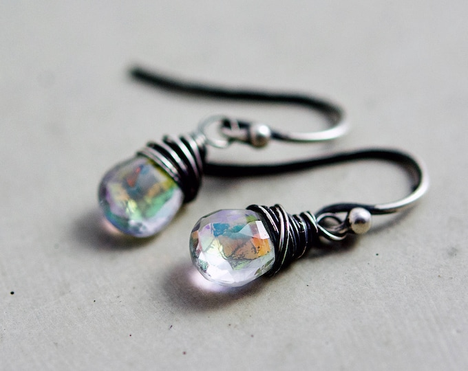 Rainbow Crystal Quartz Drop Earrings, Mystic Crystal Gemstones on Sterling Silver