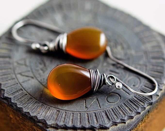 Honey Chalcedony Drop Earrings, Pumpkin Orange Gemstone Dangle Earrings, Wire Wrapped Crystals on Sterling Silver