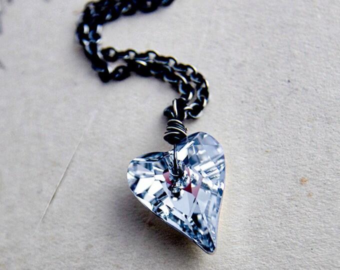 Metallic Crystal Heart Necklace, Swarovski Heart on Sterling Silver