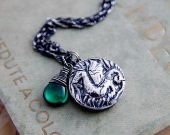 Dragon Necklace, Dragon Pendant, Green Gemstone, Fine Silver, Sterling Silver, Viking Jewelry, Dragon Coin, Emerald Green