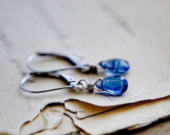14K White Gold and Kyanite Earrings, Minimalist Denim Blue Gemstone and Gold Earrings