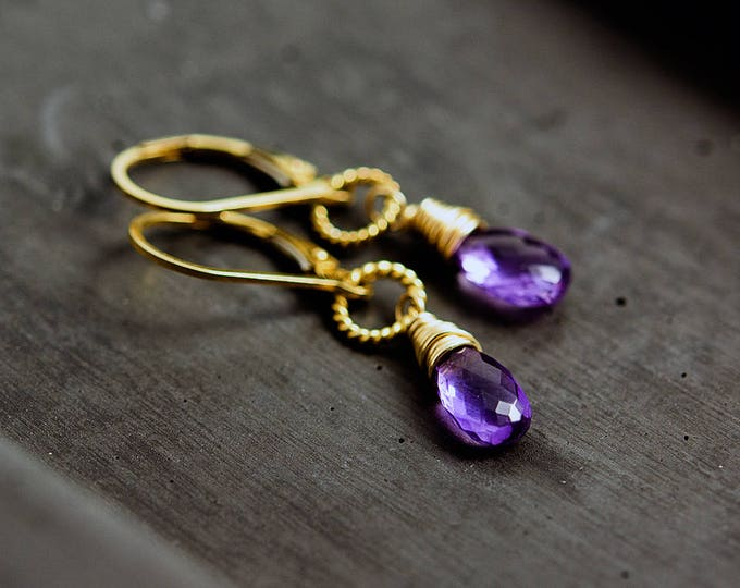 Drop Earrings, Amethyst Earrings, Amethyst Jewelry, February Birthstone, Amethyst Jewelry, Dangle Earrings, Gold Earrings, PoleStar