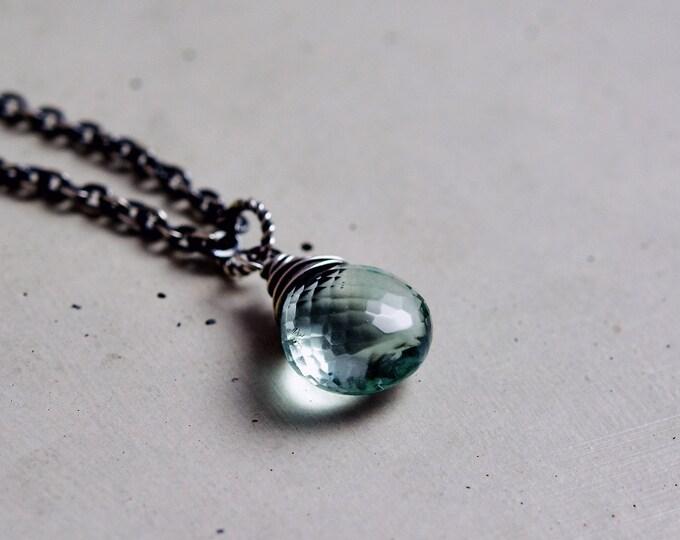 Fluorite Necklace, Light Blue Gemstone, Sky Blue Pendant Necklace, Sterling Silver