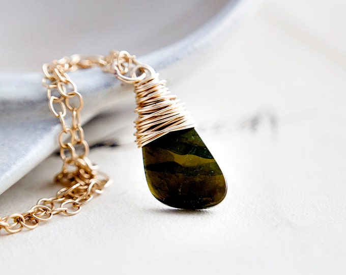 Gemstone Necklace, Tourmaline Necklace, Gold Necklace, Tourmaline Pendant, Forest Green, Olive Green, PoleStar Jewelry, Earth Tones