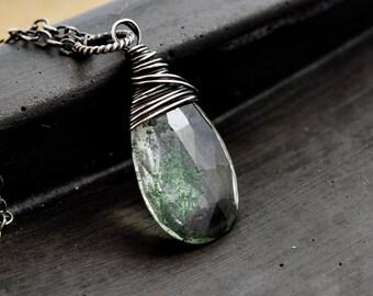 Terrarium Necklace, Quartz Necklace, Wire Wrapped, Quartz Pendant, Sterling Silver, Lodolite, Garden Quartz, Crystal Necklace, PoleStar