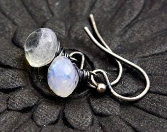 Drop Earrings, Moonstone Earrings, Moonstone Jewelry, Rainbow Moonstone, Dangle Earrings, Sterling Silver, White Gemstone, PoleStar