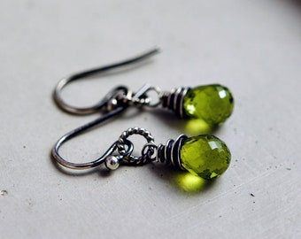 Peridot Earrings, Drop Earrings, Wire Wrapped, Sterling Silver, August Birthstone, Lime Green, Dangle Earrings, Peridot Jewelry, PoleStar