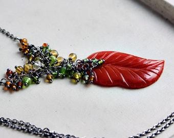Autumn Leaf Necklace, Gemstone Cluster over Orange Chalcedony Gemstone on Sterling Silver