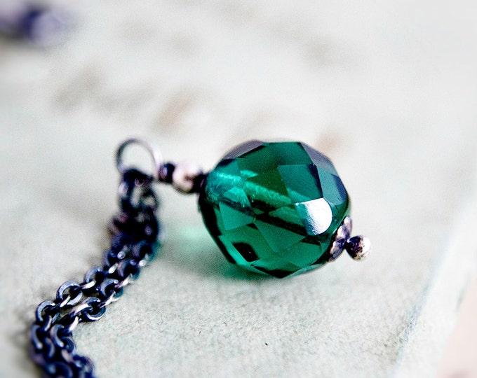 Glass Necklace, Glass Pendant, Czech Glass, Pendant Necklace, Emerald Green, May Birthstone, Sterling Silver, Glass Jewelry, PoleStar