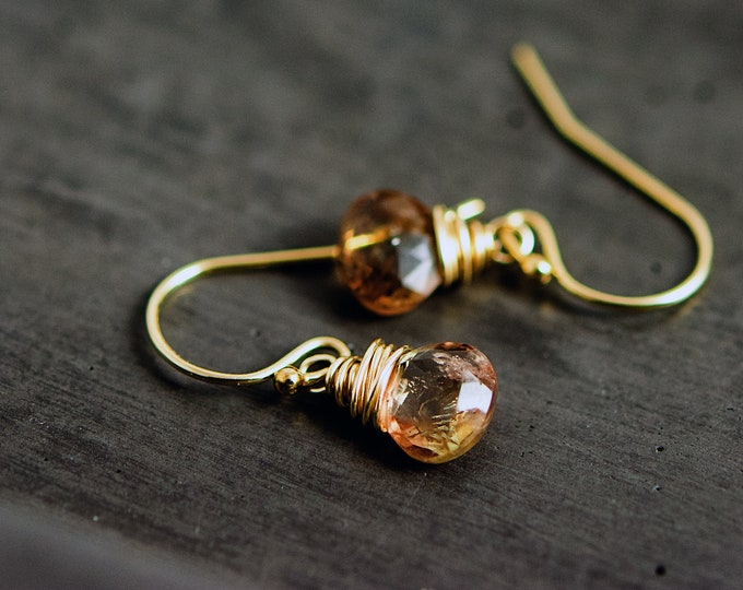 Andalusite Gemstone Drop Earrings, Caramel Crystal Dangle Earrings on 14K Gold Filled