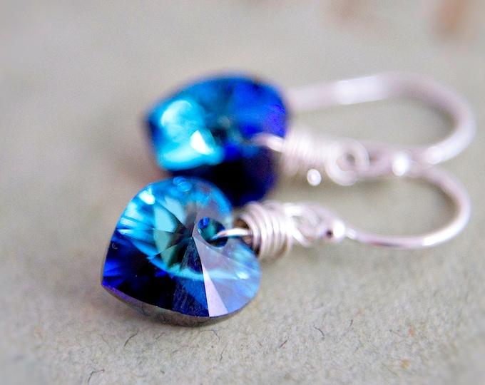 Crystal Earrings, Heart Earrings, Drop Earrings, Crystal Jewelry, Valentine Jewelry, Swarovski Heart, Swarovski Crystal, Blue Heart