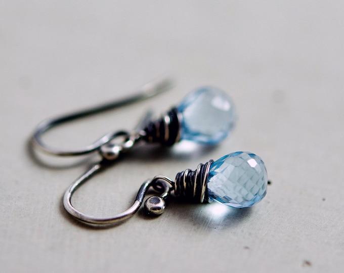Sky Blue Topaz Drop Earrings, Blue Crystal Dangle Earrings on Sterling Silver