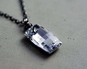 Geometric Swarovski Crystal Pendant, Metallic Crystal Modern Necklace on Sterling Silver