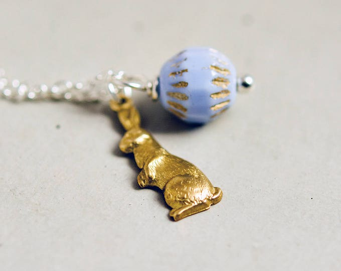 Easter Lapin Necklace, Easter Bunny, Glass Bead, Brass Charm, Spring Necklace, Bunny Rabbit