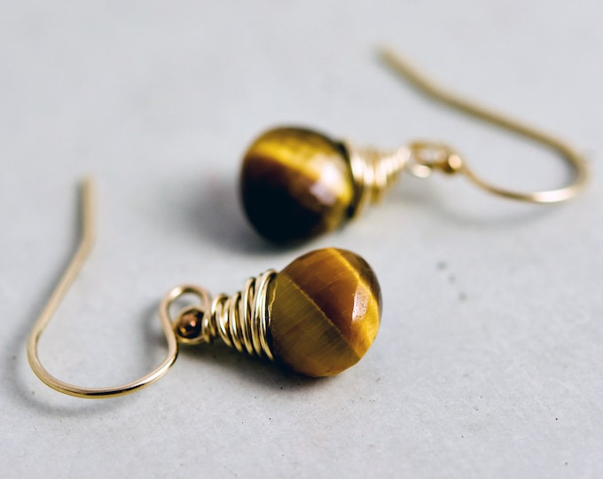 Tigers Eye Gold Drop Earrings, Caramel Gemstones on 14K Gold Filled Metal