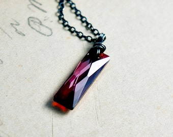 Crystal Necklace, Crystal Pendant, Swarovski Crystal, Pendant Necklace, Geometric Necklace, Red, Sterling Silver, Swarovski Crystal