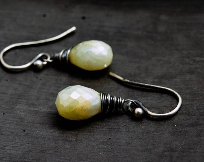 Prehnite Earrings, Drop Earrings, Gemstone Earrings, Pale Green, Sterling Silver, Gemstone Earrings, Pastel Green, Gemstone Jewelry, Mint