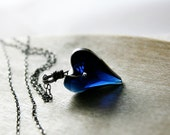 Blue Crystal Heart Necklace Midnight Silver Sapphire Pendant