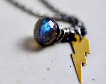 Lightning Charm Necklace, Labradorite Gemstone Pendant Necklace on Sterling Silver