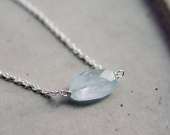 Gemstone Necklace, Aquamarine Necklace, Birthstone Necklace, Aquamarine Jewelry, March Birthstone, Sterling Silver, Perfect Gift