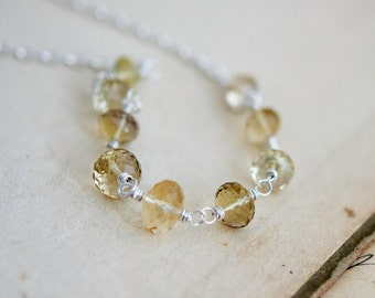 Scapolite Jewelry, Scapolite Necklace, Sterling Silver, Champagne, Butter, Yellow, Wire Wrapped, PoleStar, Gemstone Necklace, Crystal