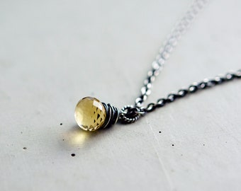 Sterling Silver Necklace Champagne Quartz Oxidized Gemstone Wire Wrapped Pale Yellow Under 50 Gifts  Fashion