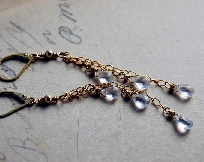 Crystal Earrings, Gemstone Earrings, Chandelier Earrings, Crystal Quartz, 14k gold fill, Dangle Earrings, Shooting Stars, PoleStar