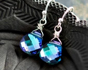 Drop Earrings, Crystal Earrings, Crystal Jewelry, Swarovski Crystal, Dangle Earrings, Wire Wrapped, Sterling Silver, Blue, Purple,
