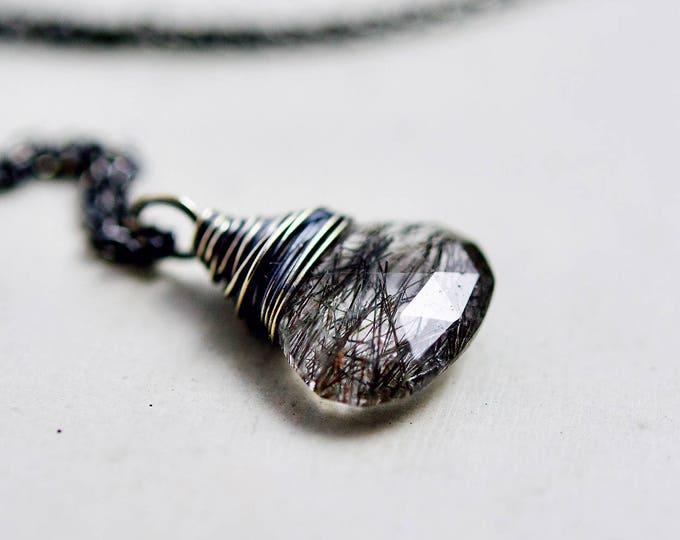 Gemstone Necklace, Tourmalinated Quartz, Tourmalinated Necklace, Tourmalinated Black, Tourmalinated Pendant, Sterling Silver,