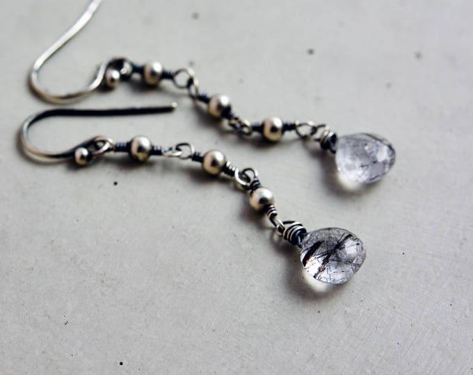 Tourmalinated Quartz Dangle Earrings, Wire Wrapped Long Earrings, Crystal Earrings