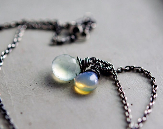 Sky Blue Stone Necklace Ethiopian Opal Chalcedony Wire Wrapped Sterling Silver