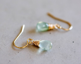 Prehnite Earrings, Drop Earrings, Gemstone Earrings, Pale Green,