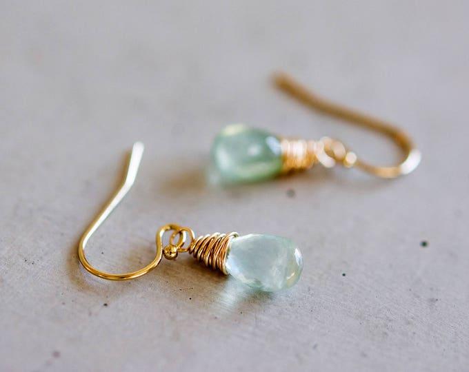 Prehnite Earrings, Drop Earrings, Gemstone Earrings, Pale Green,