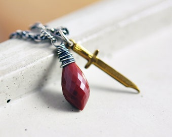 Jasper Necklace, Dagger Necklace, Knife Necklace, Mookaite Jasper, Blood Red, Sterling Silver