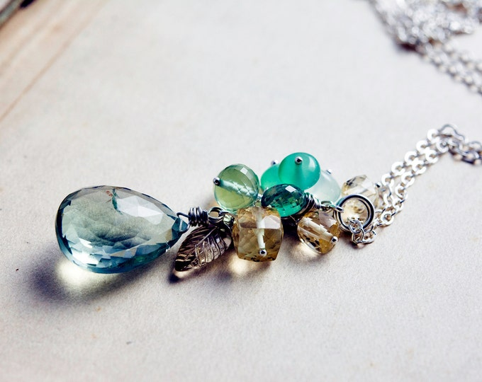 Gemstone Necklace, Cluster Necklace, Prasiolite Necklace, Gemstone Cluster, Attersee Necklace, Sterling Silver, Gemstone, PoleStar