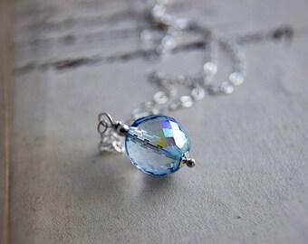 Glass Necklace, Glass Pendant, Czech Glass, Pendant Necklace, Sky Blue, Ice Blue, Baby Blue, Sterling Silver, Blue Necklace, PoleStar